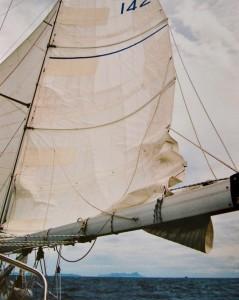 reefing mainsail downwind