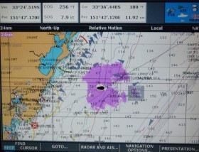 AIS show of anchored and moving coal freighters in the Coral Sea